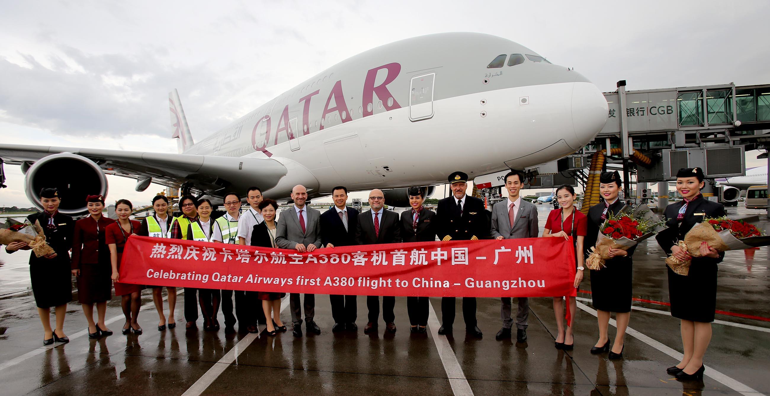 卡塔尔航空公司(以下简称卡塔尔航空)A380客机首航航班成功降落在中国广州白云国际机场,并受到了热烈的欢迎。广州成为了继曼谷、伦敦、及巴黎之后,卡塔尔航空在全球采用A380执飞的第四个航点。 自2016年7月1日起,卡塔尔航空将启用世界最大的商务客机A380执飞广州白云国际机场至多哈哈马德国际机场航线,每日一班。广州出发时间为00:55,于当日04:00抵达多哈;多哈出发时间为02:30,于当日15:30抵达广州(均为当地时间)。航班时刻锁定早午,方便旅客有充裕时间享受旅行,或者通过多哈中转至全